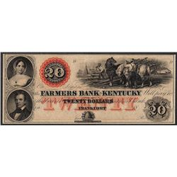 1800's $20 The Farmers Bank of Kentucky Obsolete Note