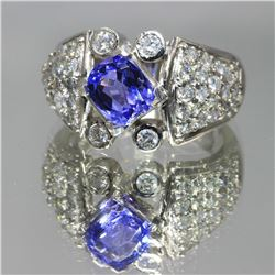 14KT White Gold 2.50 ctw Tanzanite and Diamond Engagement Ring