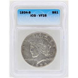1934-S $1 Peace Silver Dollar Coin ICG VF25