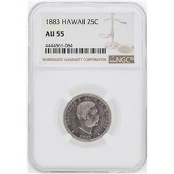1883 Kingdom of Hawaii Quarter Coin NGC AU55