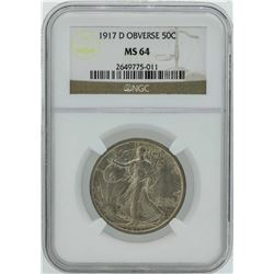 1917-D Obverse Walking Liberty Half Dollar Coin NGC MS64