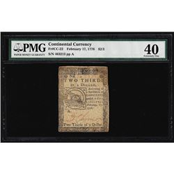 February 17, 1776 $2/3 Continental Currency Note PMG Extremely Fine 40