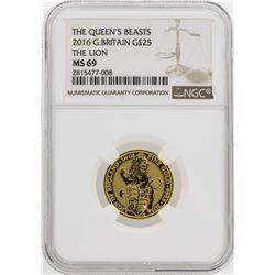 2016 Great Britain 1/4 oz. The Queens Beast The Lion Gold Coin NGC MS69