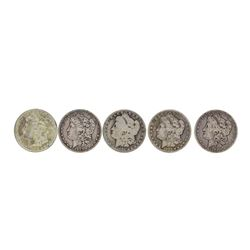 Lot of (5) Pre 1921 $1 Morgan Silver Dollar Coins