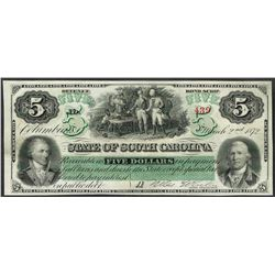 1872 $5 State of South Carolina Obsolete Bank Note