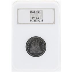 1883 Seated Liberty Proof Silver Quarter Coin NGC PF65