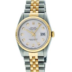 Rolex Mens 36mm Two Tone Yellow Gold Silver Diamond DateJust Wristwatch