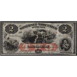 1864 $2 The Somerset & Worcester Savings Bank Obsolete Note