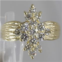 14KT Yellow Gold 1.00 ctw Diamond Cluster Ring