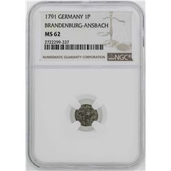 1791 Germany Brandenburg-Ansback 1 Pfenning Coin NGC MS62