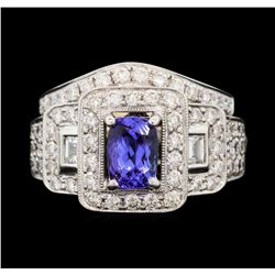 18KT White Gold 1.09 ctw Tanzanite and Diamond Ring