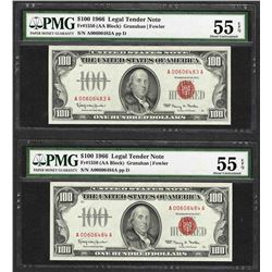 (2) Consecutive 1966 $100 Legal Tender Notes PMG Choice About Uncirculated 55EPQ