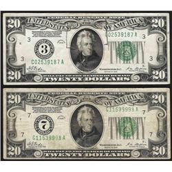 Lot of (2) 1928 $20 Federal Reserve Notes
