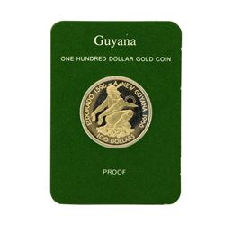1976 Guyana $100 Gold Proof Coin