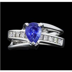 14KT White Gold 1.78 ct. Blue Sapphire and Diamond Ring