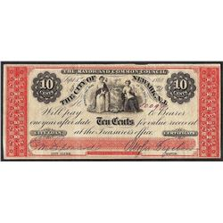 1862 Ten Cents The City of Newark New Jersey Obsolete Note
