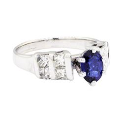 14KT White Gold 1.04 ctw Sapphire and Diamond Ring