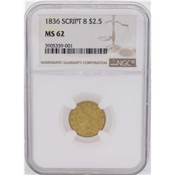 1836 Script 8 $2 1/2 Classic Liberty Head Quarter Eagle Gold Coin NGC MS62