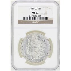 1884-CC $1 Morgan Silver Dollar Coin NGC MS62