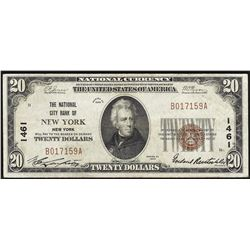 1929 $20 New York New York National Currency Note CH# 1461