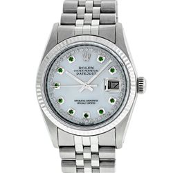 Rolex Mens 36mm Stainless Steel MOP Emerald String Diamond Datejust Wristwatch