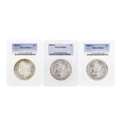 Lot of (3) 1885-O $1 Morgan Silver Dollar Coins PCGS MS64
