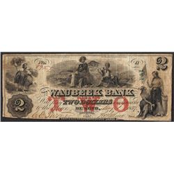 1857 $2 The Waubeek Bank Obsolete Note