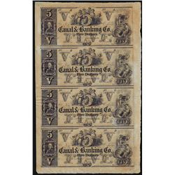 Uncut Sheet of $5 New Orleans Canal & Banking Obsolete Notes