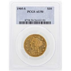 1905-S $10 Liberty Head Eagle Gold Coin PCGS AU50