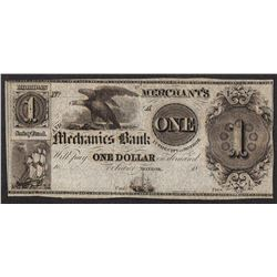 1800's $1 The Merchant's and Mechanics Bank Obsolete Note