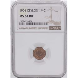 1901 Ceylon 1/4 Cent Coin NGC MS64RB