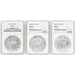Lot of 2004-2006 $1 American Silver Eagle Coins NGC MS69