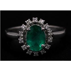 14KT White Gold Estate 1.17 ctw Natural Emerald and Diamond Ring