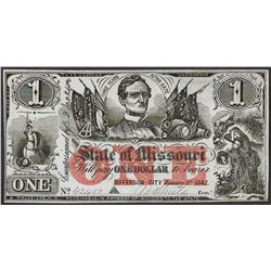 1862 $1 The State of Missouri Obsolete Note