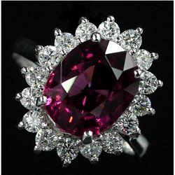 14KT White Gold 4.97 ctw Oval Cut Pink Rhodolite and Diamond Band Ring