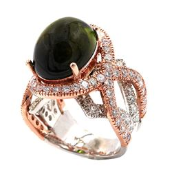 14KT Two Tone Gold 14.11 ctw Green Tourmaline and Diamond Ring