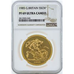 1985 Great Britain 5 Sovereign Gold Coin NGC PF69 Ultra Cameo