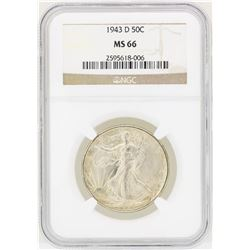 1943D Walking Liberty Half Dollar Coin NGC MS66