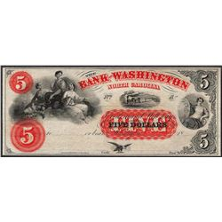 1800's $5 The Bank of Washington Obsolete Note