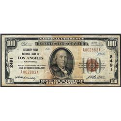 1929 $100 Security-First National Bank of Los Angeles Currency Note CH# 2491