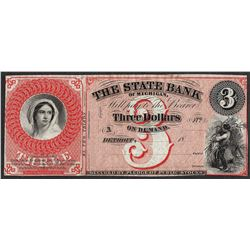 1800's $3 The State Bank of Michigan Obsolete Note