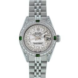 Rolex Ladies Stainless Steel MOP Diamond Lugs and Emerald Datejust Wristwatch