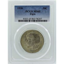 1936 Elgin Illinois Centennial Commemorative Half Dollar Coin PCGS MS65