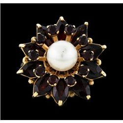 14KT Yellow Gold 7.7mm Pearl and Pyrope Garnet Ring
