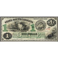 1872 $1 State of South Carolina Obsolete Bank Note