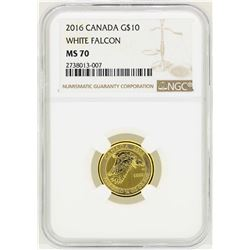 2016 Canada $10 White Falcon Gold Coin NGC MS70