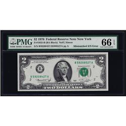 1976 $2 Federal Reserve Note Mismatched Serial Number ERROR PMG Gem Unc. 66EPQ