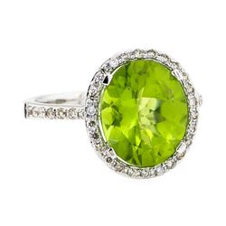 14KT White Gold 4.90 ctw Peridot and Diamond Ring