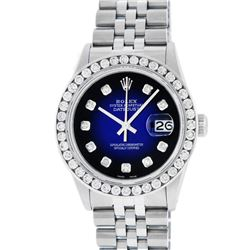 Rolex Mens Stainless Steel Blue Vignette 3.15 ctw. Diamond Datejust Wristwatch
