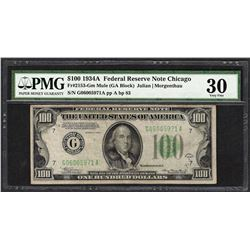 1934A $100 Federal Reserve Note Fr.2153-G PMG Very Fine 30